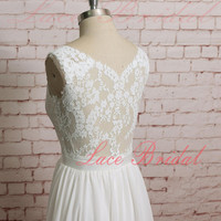 Backless Wedding Dress, Sexy Wedding Dress, Lace Chiffon Wedding Bridal Dress with Waistband