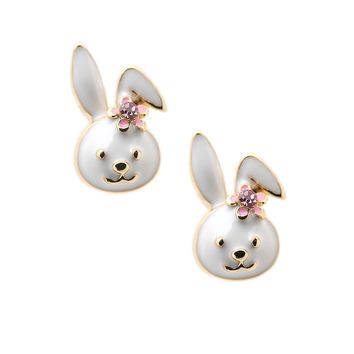Gold Plated Cute Little Smiling Bunny with Flower Earrings