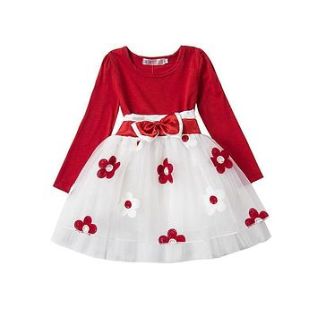 Autumn Winter Baby Girl Boutique Clothing Flower Toddler Girls Red Clothes For 1 Year Birthday Gift Newborn Infant Party Wear