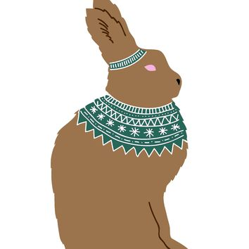 Colorful Contemporary Brown Bunny With a Knit Sweater Hand Embroidery Pattern