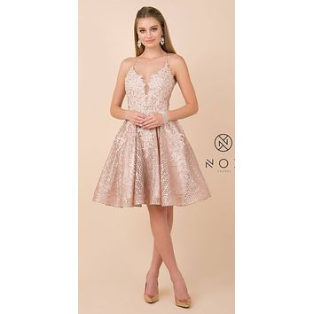 Rose Gold Homecoming Short Dress Appliqued Bodice