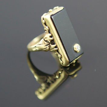Art Nouveau Ring: Funky, Gorgeous, Antique.  Black Onyx Set in 14k Gold with diamond accent.