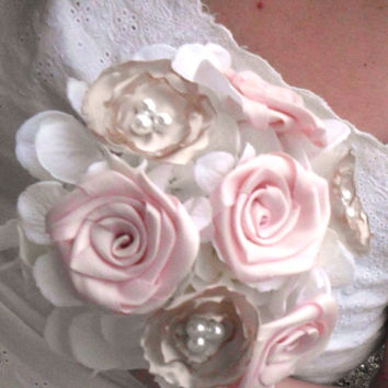 Fabric Flower Bouquet, Bridesmaid, Custom, Wedding, Bridal Bouquet, Fabric Bouquet, Pearl, White, Champagne, Weddings, Package, Blush Pink