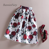 Vintage Red Rose Flower Bouquet Floral Print High Waist Midi Skirt