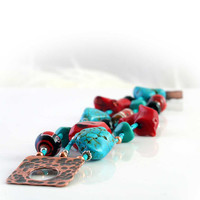 Western Red Coral and Turquoise Bracelet, Chunky, Hand Painted Native American Beads, Triple Strand, Southwestern Jewelry
