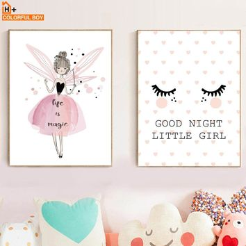 Pink Girl Princess Eyelash Wall Art Canvas Painting Nordic Posters And Prints Pop Art Cartoon Wall Pictures Baby Kids Room Decor
