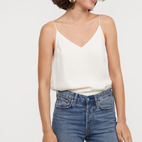 V-neck Satin Top - Black - Ladies | H&M US