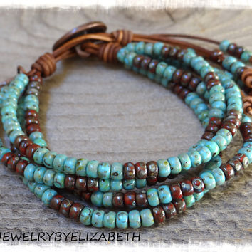 Native American/ Seed Bead Leather Wrap Bracelet Southwestern Style/ Beaded Leather Wrap Bracelet/ Seed Bead Leather Wrap Bracelet.