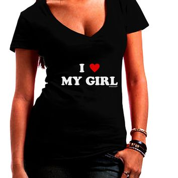 I Heart My Girl - Matching Couples Design Juniors V-Neck Dark T-Shirt by TooLoud