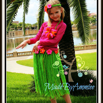 Girls Crochet Hula Skirt Set, Toddler Luau Outfit, Girls Grass Skirt Coconut Bikini Flower Lai Headband and Anklet , Crochet Hawaiian Outfit