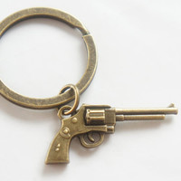 Miniature Gun Key Ring - Antiqued Brass Vintage Style Key Ring Key Chain or Ring- C0049