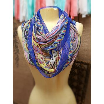 Silk Feel Dream Infinity Scarf  - Cobalt Blue