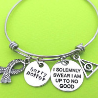 I solemnly swear I am up to no good, Harry potter, Pyramind, Scarf, Silver, Bangle, Lovers, Friends, Sister, Gift