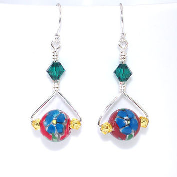 Red blue flower ceramic bead drop dangle earring Yellow green Swarovski crystal earing Sterling silver French hook ear wire Dangly ear ring