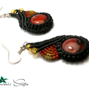 Handmade macrame earrings made with Thai wax cord and dragon veins cabochon