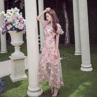 Elegant Flower V-neck Dress
