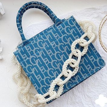 Laurence Chico 2020ss new Tote big sail denim bag oversized pearl chain decoration