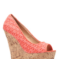 Coral Crochet Detailed Cork Wedges