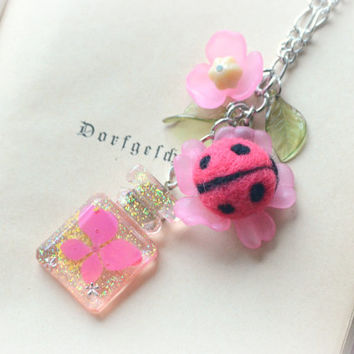 Handmade needle felted ladybug pendant necklace, pink dried flower perfume bottle shape resin pendant, whimsical jewelry, gift under 20