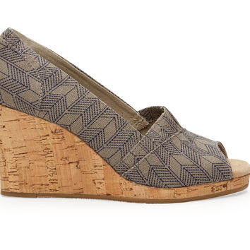 TOMS Grey Canvas Sashiko Women's Classic Wedges Grey
