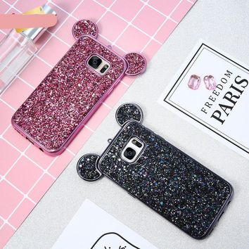 3D Mickey Mouse Phone Cases For Samsung Galaxy S8 S7 Edge S6 Coque Glitter Silicon Cover Case For Galaxy S6 Edge Capa