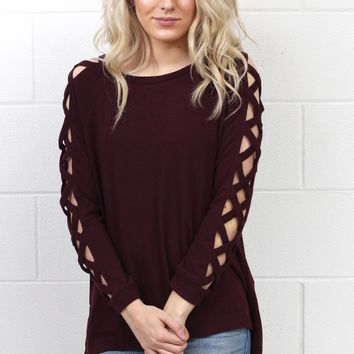 Strappy X Long Sleeves Knit {Maroon}