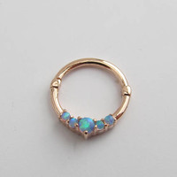14k Solid Rose Gold Septum Clicker Ring With Blue Opals..16g..10mm