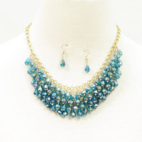 Teardrop glass beaded collar necklace with matching earrings