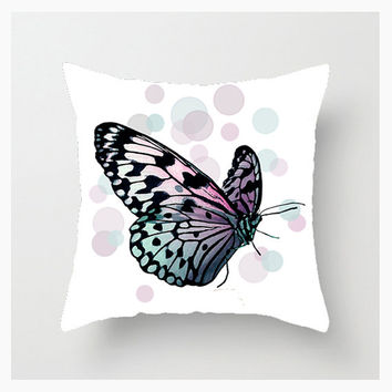 Throw Pillow Cover, 16x16, 18x18, 20x20, Home Décor, Decorative, Butterfly, Bokeh, Purple, Pink, Photography, Graphic Design, Etsy ArtBJC