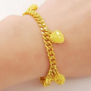 24k Gold Heart Shape Link Chain Bracelet