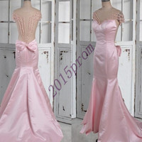 Long Pink Backless Mermaid Prom Dresses,Short Sleeves Beaded Prom Dresses,Formal Party Evening Dresses,Unique Homecoming Dresses