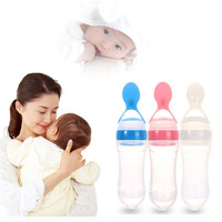 New Arrival Infant Food-grade Silicone Baby Feeding Products Spoon Food Rice Cereal Bottle Blue, Pink, White