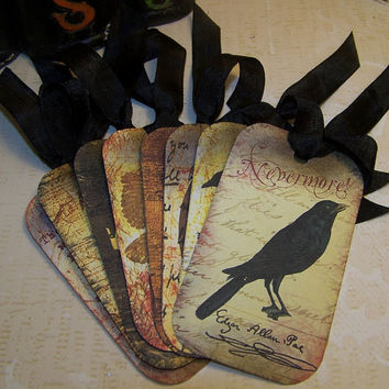 Halloween Edgar Allan Poe Tags - Vintage Style - Set of 8