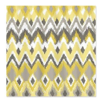 Aztec Tribal Yellow Gray Chevron Zi Shower Curtain