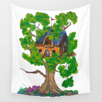 Treehouse III Wall Tapestry by Dim_kad
