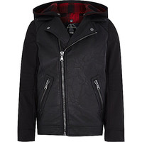 River Island Boys black leather-look hooded biker jacket