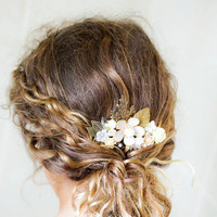 FREE SHIPPING Autumn Bridal Hair Comb Wedding Hair Accessory, Bridal Head Piece, Shabby Chic Rustic Elegant Hair Comb, Vintage Something Old