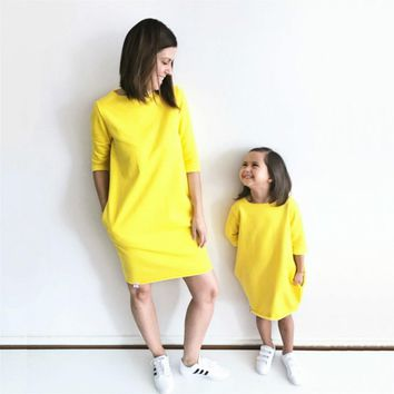 Mommy & Daughter Half Sleeve Yellow Matching Dress