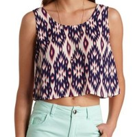 Ikat Print Bow-Back Swing Crop Top by Charlotte Russe - Pink Combo