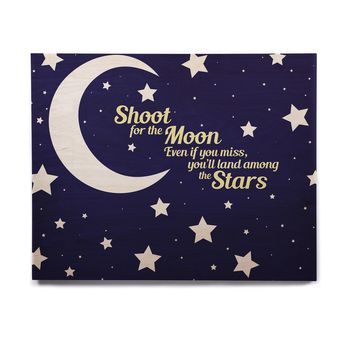 """NL Designs """"Moon And Stars Quote"""" Blue White Birchwood Wall Art"""