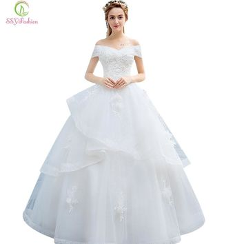 Wedding Dresses The Bride Princess Sweet White Lace Flower Boat Neck A-line Appliques Wedding Gown