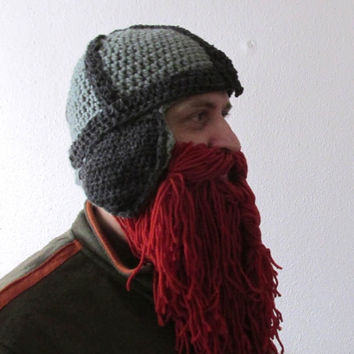 Viking hat crochet pattern, beard hat crochet pattern, hobbit hat pattern, dwarf hat pattern