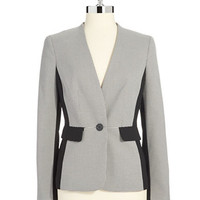 Anne Klein Petite Petite Single Button Houndstooth Blazer