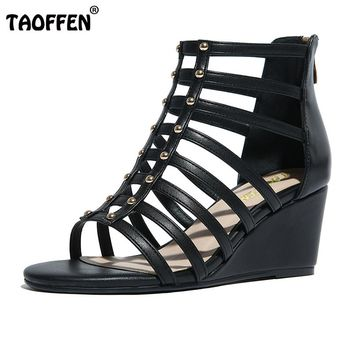 Real Leather Gladiator Cross Strap Rivet Zipper Sandals