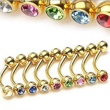 5pcs 16Gx8x3mm Gold Stainless Steel Eyebrow ring Micro Bent Barbell Mix Color Crystal Ball Spike titanium Body Piercing Jewelry