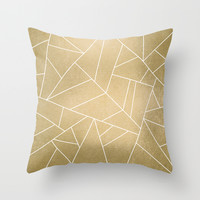 Minimal Gold Throw Pillow by Elisabeth Fredriksson