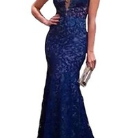 Women Sexy Blue Lace Backless Gown Evening Formal Party Cocktail Prom Dress (S)