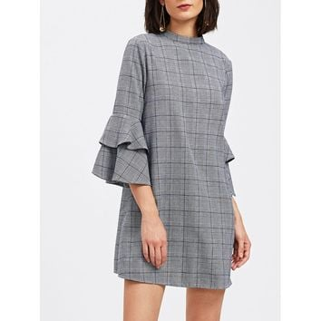 Grey Stand Collar Bell Sleeve Plaid Short Shift Dress