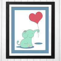 Baby elephant nursery print PRINTABLE poster heart balloon