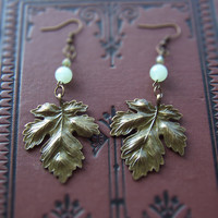 Bronze Leaf and Amazonite Earrings - Free US Shipping